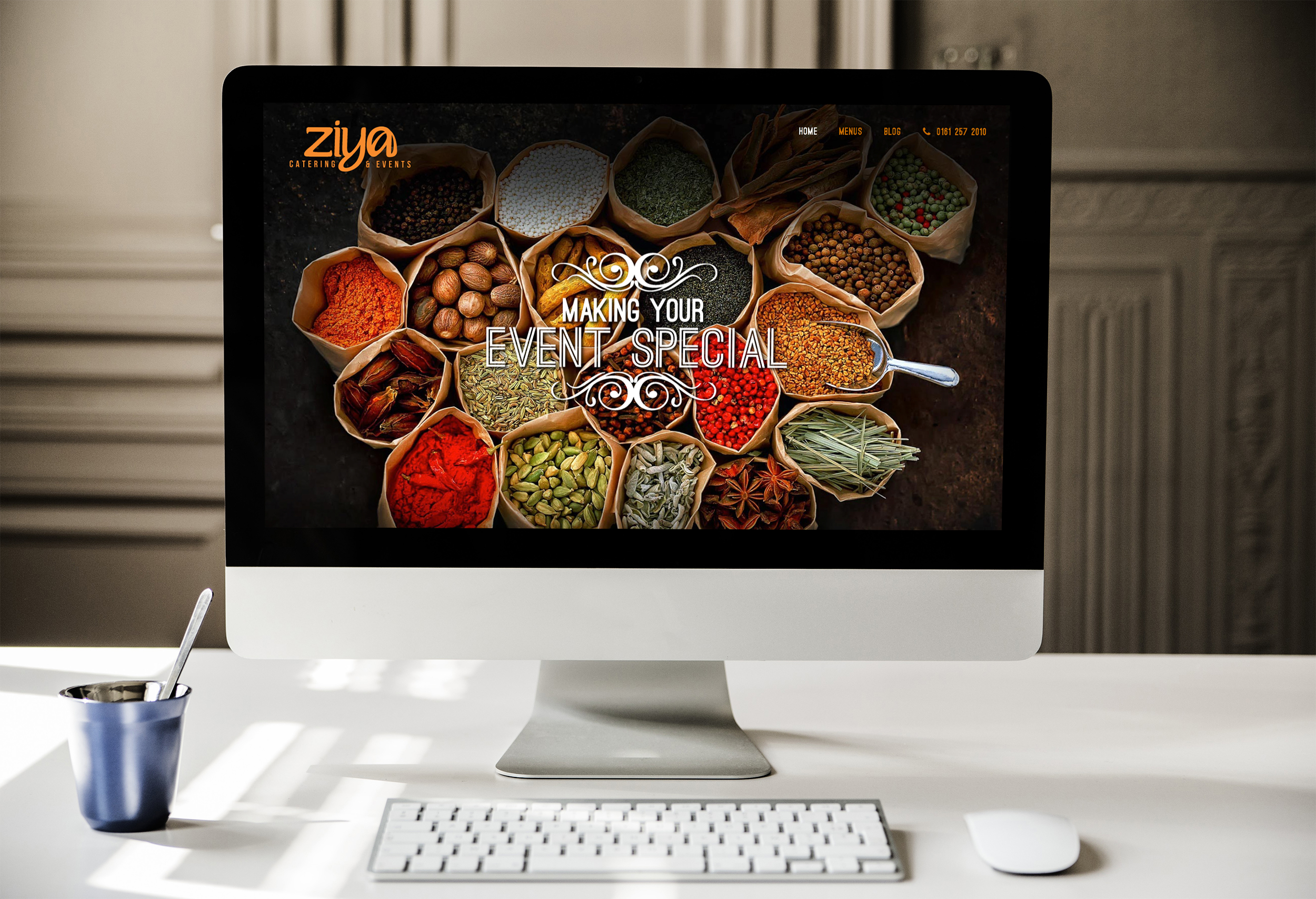 Web design for Ziya Events, Manchester