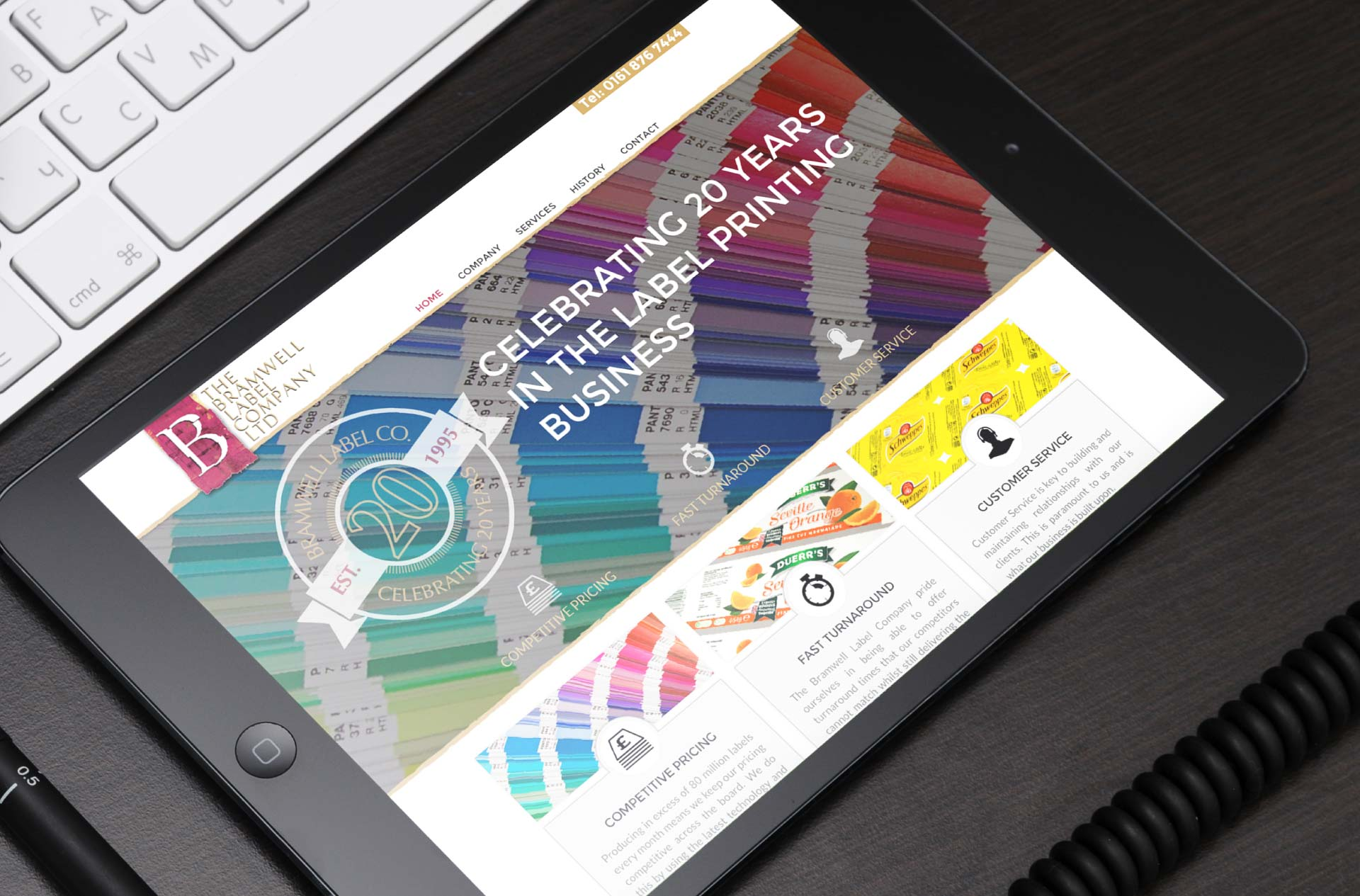 Website design for Bramwell Labels, Manchester