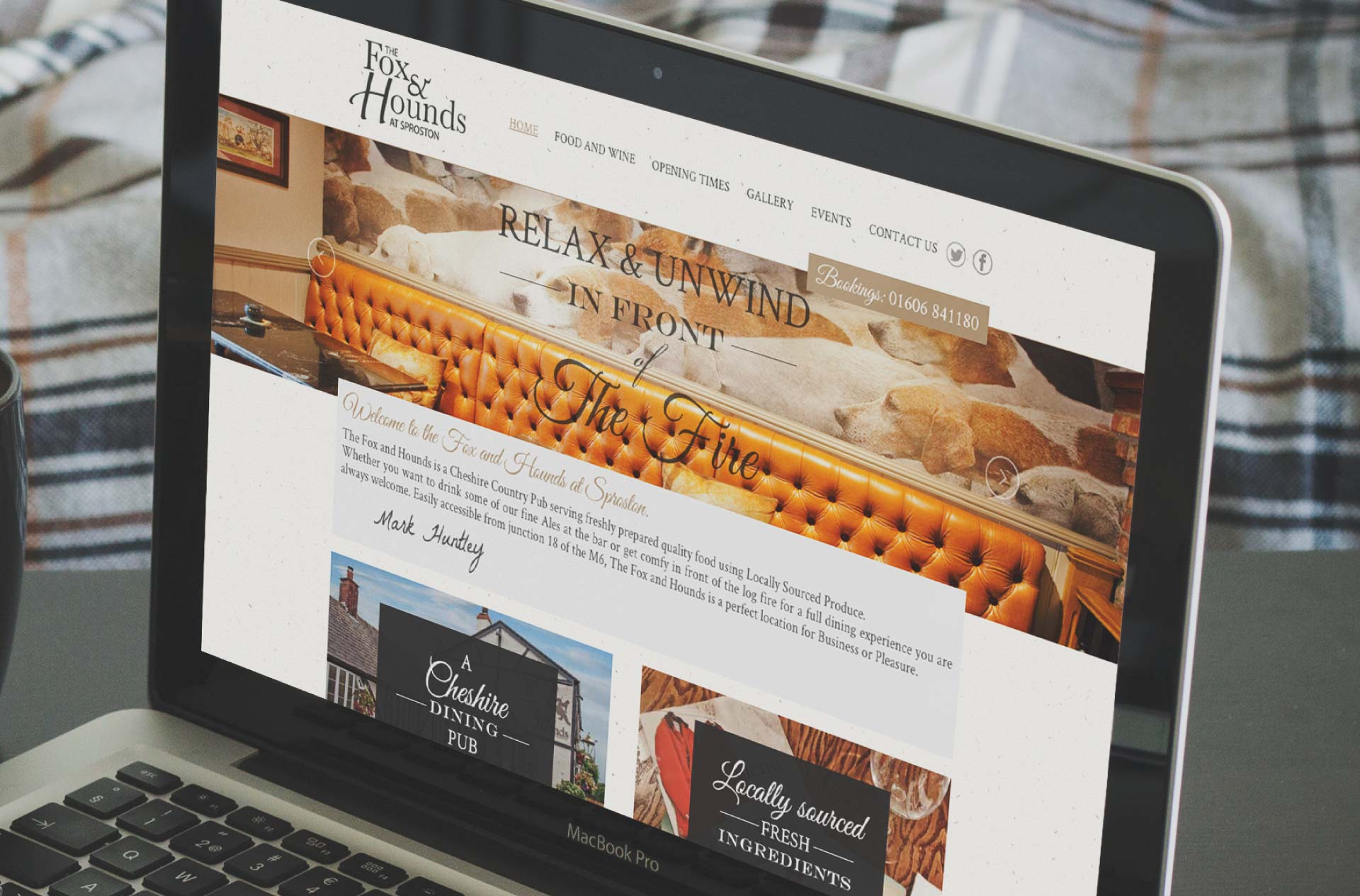 Web design for Fox & Hounds, Sproston, Cheshire