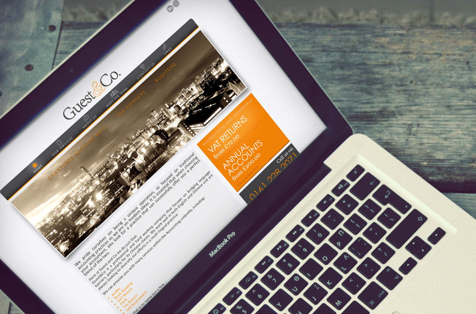 Web design for Guest & Co. Accountants, Manchester