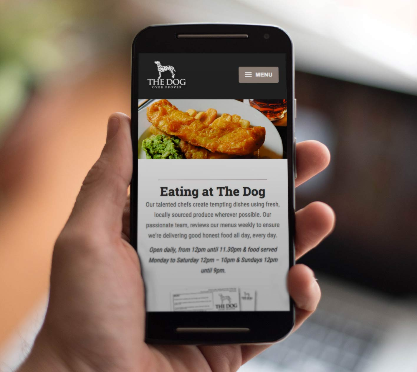 Website design for The Dog at Peover, Cheshire