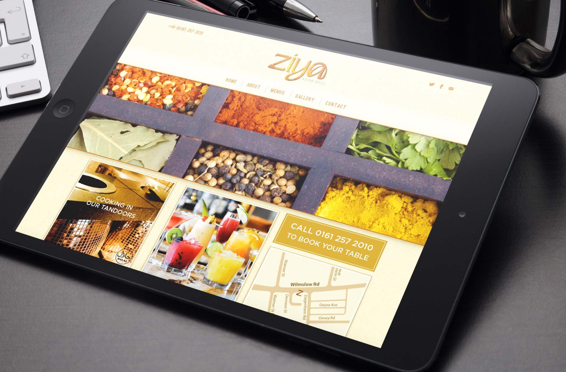Website design for Ziya Asian Grill, Manchester