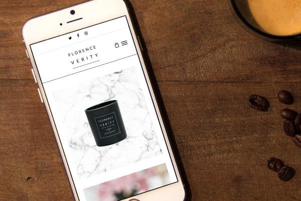 E-commerce website design for Florence Verity