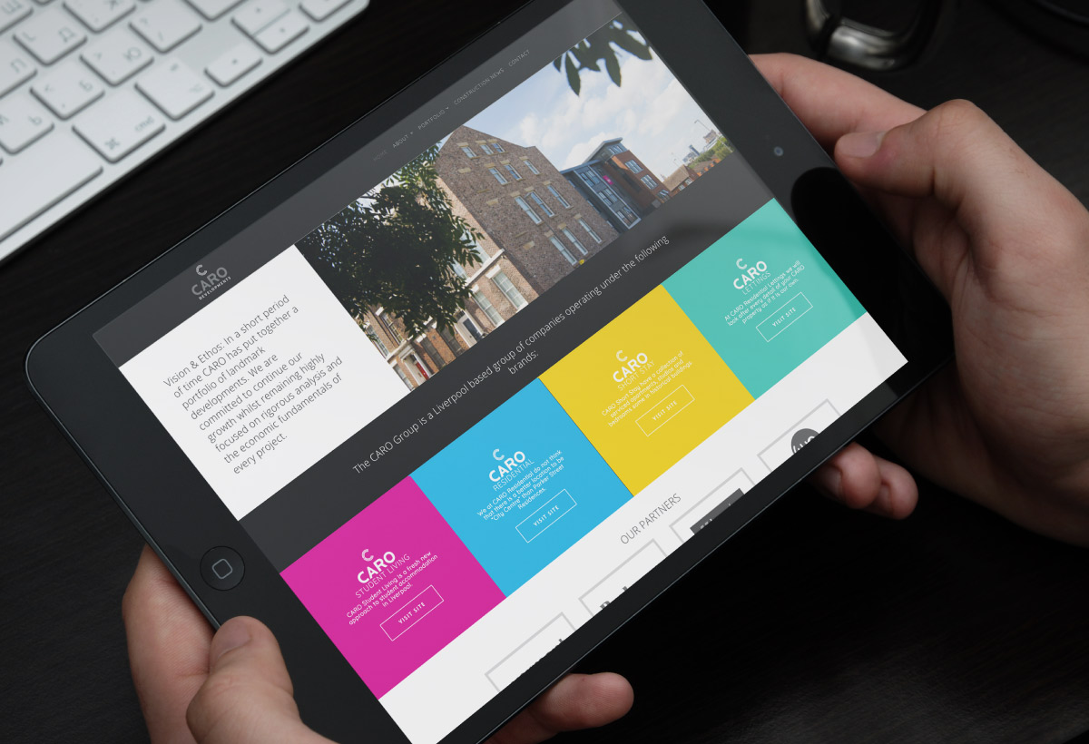 Web design for Caro Developments, Liverpool based property developers