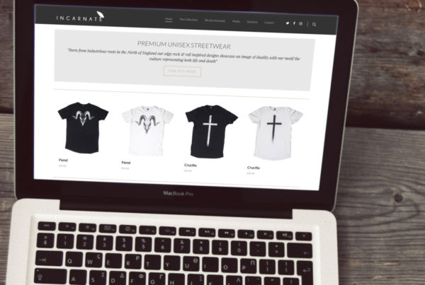 Web design for Incarnate Clothing, E-commerce