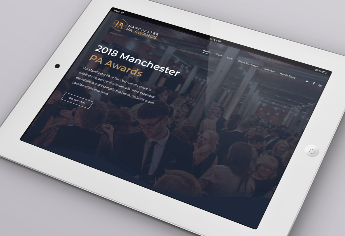 Web design and logo design for the 2018 Manchester PA Awards